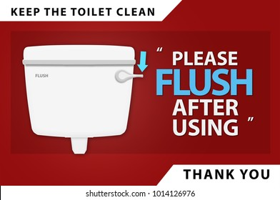 Clean sticker sign for restroom or toilet (Keep the toilet clean, please flush after using, thank you).