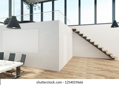 Clean two story office interior with panoramic window view, furniture and daylight. 3D Rendering
