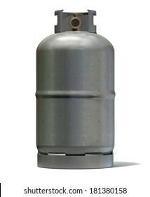 A clean unbranded metal gas cylinder with a bronze valve on an isolated white background