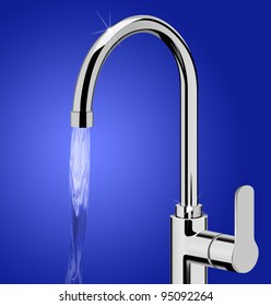 Clean Water Running From Kitchen Tap
