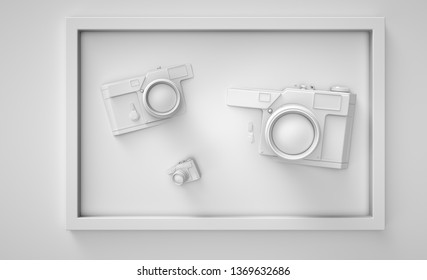 Clean white 3d render camera in frames easy lifestyle traval vacation composition trendy abstract illustration stylish hipster backdrop