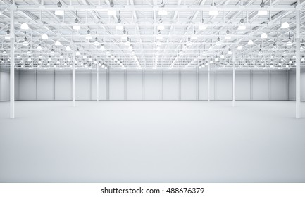 Clean White empty warehouse 3D rendering