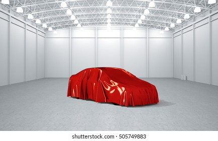 Clean white empty warehouse covered car launch 3D illustration