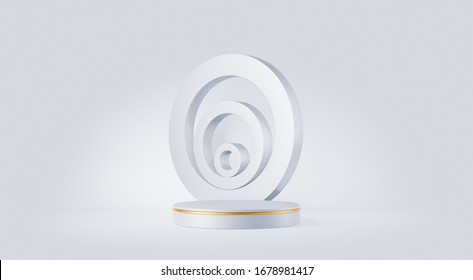 Clean white gold product pedestal on white background, gold frame, memorial board, abstract minimal concept, blank space, clean design, luxury mockup. 3d render