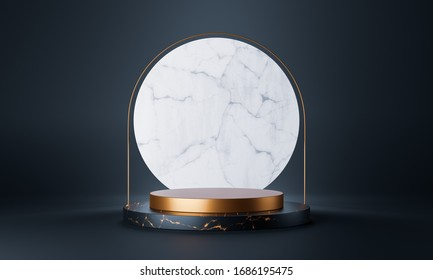 Clean white gold product pedestal, gold frame, memorial board, abstract minimal concept, blank space, clean design, luxury mockup. 3d render