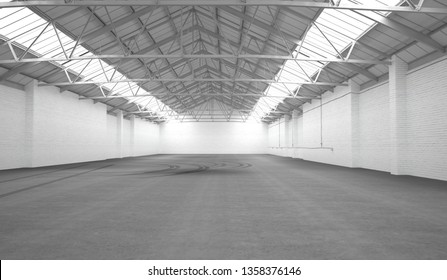 Clean white hangar background. Low angle view. 3D rendering