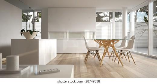 Clean white minimalist interior (3D render)