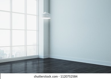 Clean white room with city view and copy space. Mock up, 3D Rendering
