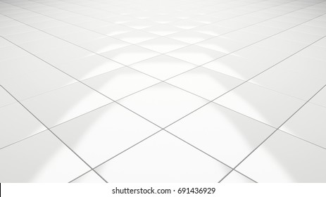Clean white tile floor 3d rendering perspective