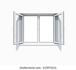 Clean white wall with opened window. 3D illustration. Empty template