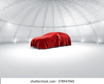Clean white warehouse dome exhibition space car stage car launch, under red fabric reveal 