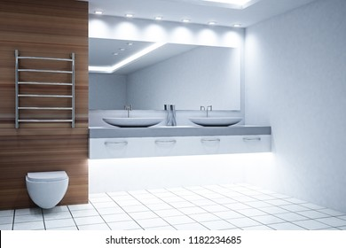 Clean white and wooden bathroom interior. Style and design concept. 3D Rendering
