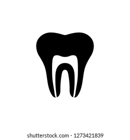 cleaned tooth canal vector icon.healty tooth on glyph style design.tooth vector for app,mobile,web