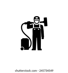 Cleaner Man standing with vacuum cleaner Pictogram Figure icon