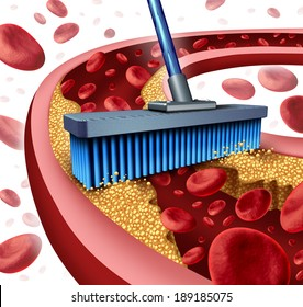 Cleaning arteries concept as a broom removing plaque buildup in a clogged artery as a symbol of atherosclerosis disease medical treatment opening clogged veins as a metaphor for removing cholesterol.