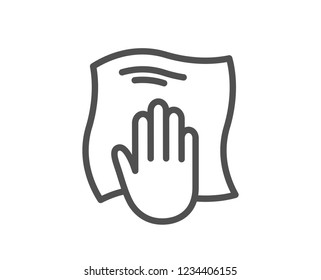 Cleaning cloth line icon. Wipe with a rag symbol. Housekeeping equipment sign. Quality flat web app element. Line design Washing cloth icon.