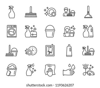 Cleaning line icons. Laundry, Sponge and Vacuum cleaner signs. Washing machine, Housekeeping service and Maid equipment symbols. Window cleaning and Wipe off. Quality design element. Classic style
