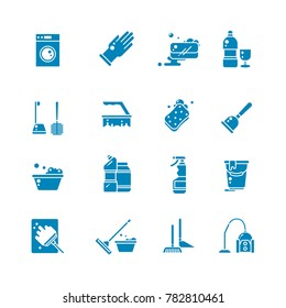 Cleaning products and services silhouette icons. Washing supplies and housework black symbols. Detergent and soap, glove and sponge illustration