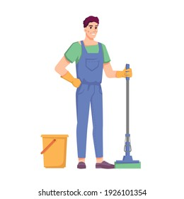 Cleaning service and housekeeping, isolated man with mop and bucket. Male personage mopping floor. Office, home or hotel care. Isolated janitor with tool. Cartoon character, in flat style
