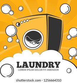 Cleaning service and laundry concept background, poster