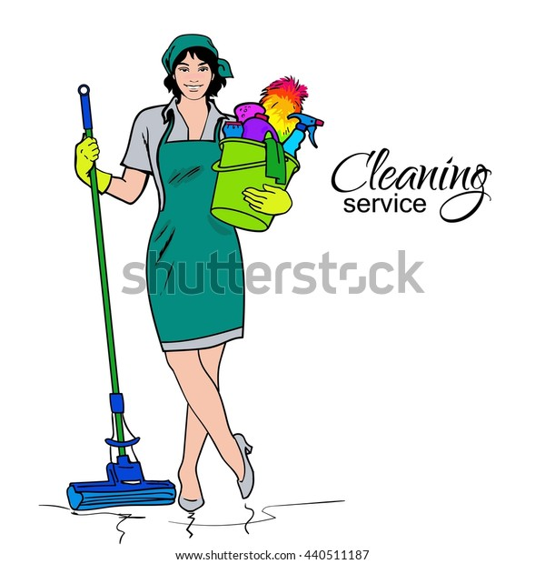 Cleaning services. The cleaner with a mop. Cleaning homes and offices. Cheerful girl with a bucket. She will purify all. Woman in uniform. Easy cleaning. illustration