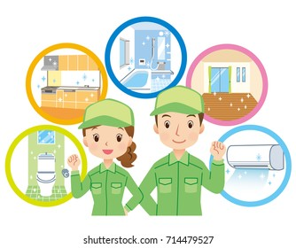 """cleaning staff and home cleaning point in house """"green color uniform"""""""