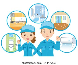 "cleaning staff and home cleaning point in house ""blue color uniform"""