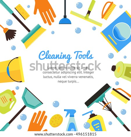 Cleaning Tools Banner House Services Flat Stock Illustration