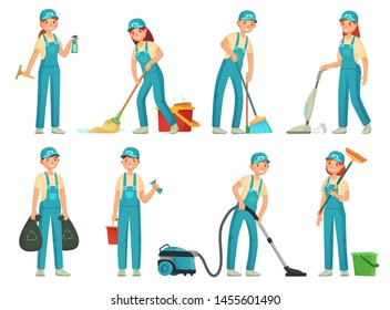 Cleaning workers. Professional cleaning staff, domestic cleaner worker and cleaners equipment. Home clean, housework service or housekeeping workers and janitor. Cartoon  isolated icons set