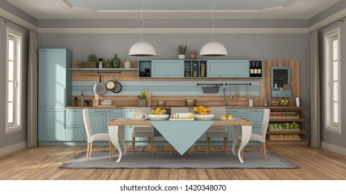 Clear blue classic kitchen with elegant table set and chairs - 3d rendering