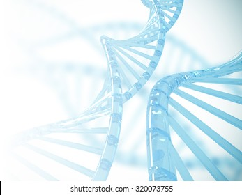 Clear blue Dna structure with blurry background, 3D illustration.
