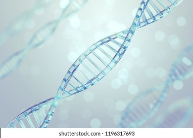 Clear blue Dna structure with Light Bokeh background, 3D illustration.
