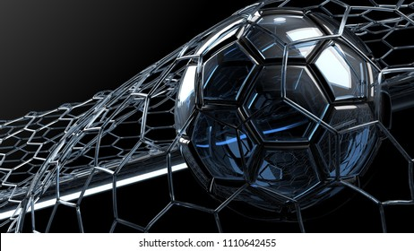 Clear Blue Glass Soccer Ball with particles in the Goal Net. 3D CG. High resolution.