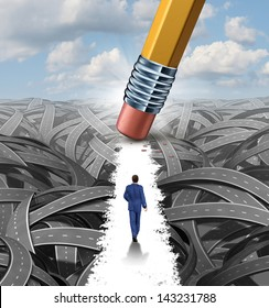 Clear the confusion leadership solutions with a businessman walking through a group of tangled roads opened up by a pencil eraser as a business concept of innovative thinking for financial success.