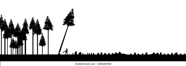 Clear cutting forests, use or abuse of natural resources is the topic of this illustration. Silhouetted trees, one being cut down are pictured next to numerous tree stumps. This is an illustration.