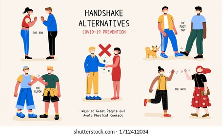 A clear demo for safe and hygienic handshake alternatives to avoid physical contact and the transmission of COVID-19