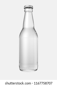 A clear glass beer bottle on an isolated white studio background - 3D render