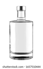 Clear Glass Bottle of Gin, Liquor or Vodka with Metal Cap Isolated on White. 3D Render