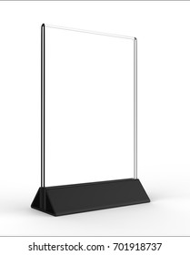 Clear plastic and acrylic  table talkers promotional upright menu table tent top sign holder 11x8 table menu card display stand picture frame for mock up and template design. 3d render illustration.