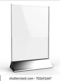 Clear plastic and acrylic  table talkers promotional upright menu table tent top sign holder 11 x 8 table menu card display stand picture frame set for mock up and template design. 3d  illustration.