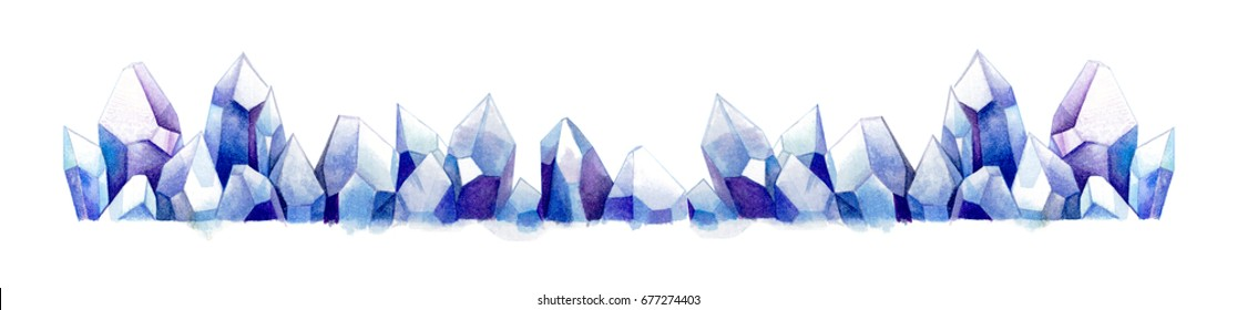 Clear purple blue space universe color  amethyst quartz crystal cluster gems family frame watercolor painting illustration on white background for design banner card reiki meditation