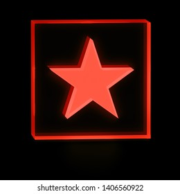 Clear transparent glass or plexiglass display with luminous five-pointed red star symbol inside on dark background for interior decoration, 3D rendered image