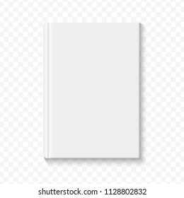Clear white blank book cover template on the alpha transperant background with smooth soft shadows.  illustration.