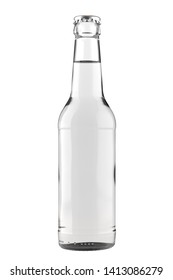 Clear white glass bottle with a clear liquid. Long Neck. 12oz (11 oz) or 355 ml (330 ml) volume. Isolated 3D render on a white.