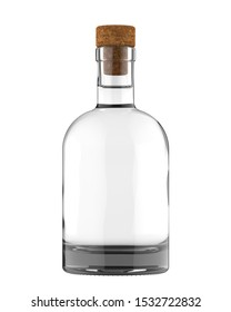 Clear White Glass Whiskey, Vodka, Gin, Rum, Ticture, Moonshine or Tequila Bottle with Liquid and Cork. 17oz (16 oz) or 500 ml (50 cl) volume. 3D Illustration Isolated on White Background.