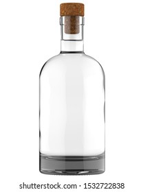 Clear White Glass Whiskey, Vodka, Gin, Wine, Ticture, Moonshine or Tequila Bottle. 750, 700, 1000 ml (70, 75, 100 cl) or 1, 0.7, 0.75 L of volume. 3D Illustration Isolated on White.