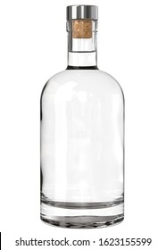 Clear White Glass Whiskey, Vodka, Gin, Wine, Tincture, Moonshine or Tequila Bottle with Metallic Cap. 3D Render Isolated on White.