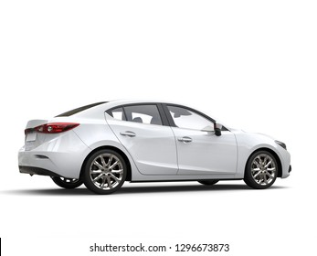 Clear white modern fast business car - tail side view - 3D Illustration