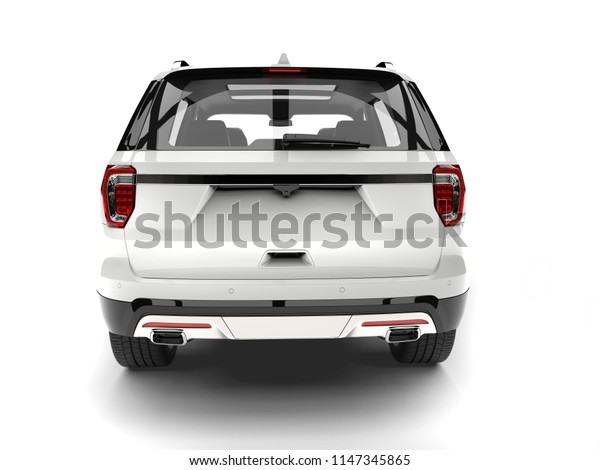 Clear white modern SUV - back view - 3D Illustration