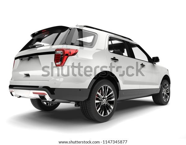 Clear white modern SUV - tail light closeup shot - 3D Illustration